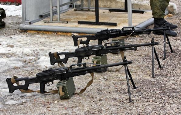 Picture gravel, 3 pieces, machine gun PKP, Pecheneg, Pecheneg