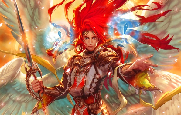 Picture crystal, wings, angel, sword, red, male, art, Midori Foo