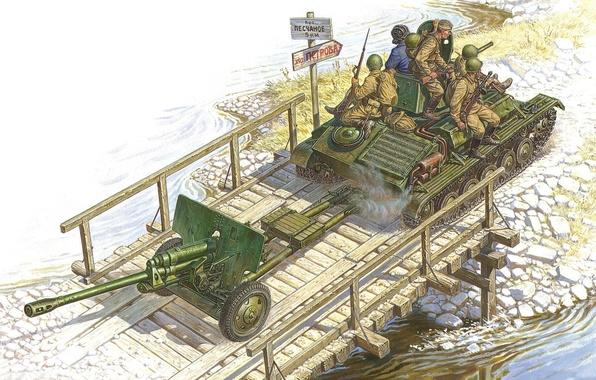 Picture bridge, art, artist, soldiers, tank, USSR, crossing, WWII, Soviet, WW2, through, 76 mm, gun, calculation, …