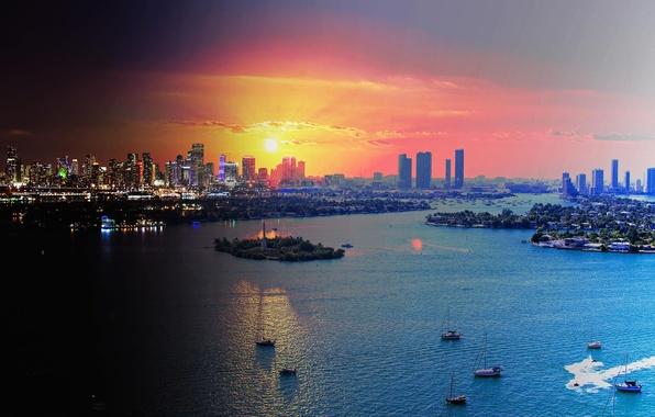 Picture lights, Miami, the evening, FL, panorama, Miami, florida