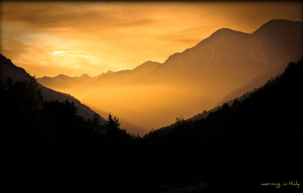 Picture the sky, landscape, mountains, nature, fog, dawn, Wallpaper, morning, Italy