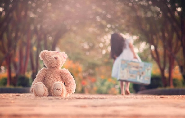 Picture road, toy, bear, girl, suitcase