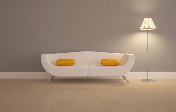 Picture sofa, Wallpaper, lamp, pillow, scrambled eggs, floor lamp