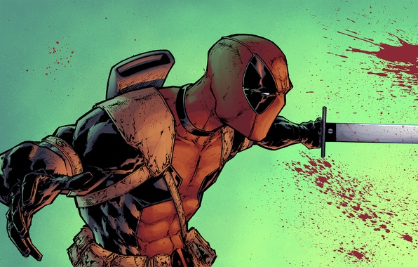 Picture blood, sword, mask, villain, art, Deadpool, Marvel Comics, Wade Wilson