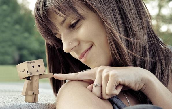 Picture girl, smile, box, robot, piercing, finger, danbo, ring, cardboard