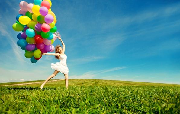 Picture girl, joy, balloons, jump