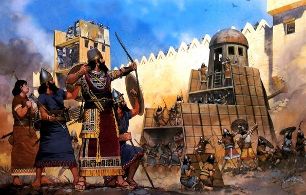 Picture figure, art, fortress, Taran, storm, siege, archers, spearmen, the Assyrians, the shield, XIII century BC, …