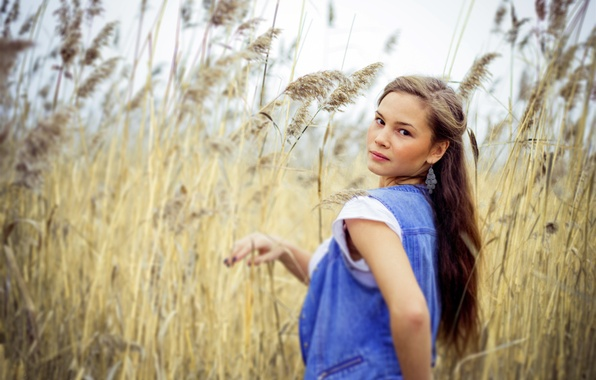 Picture LOOK, GRASS, BROWN hair, STRAW