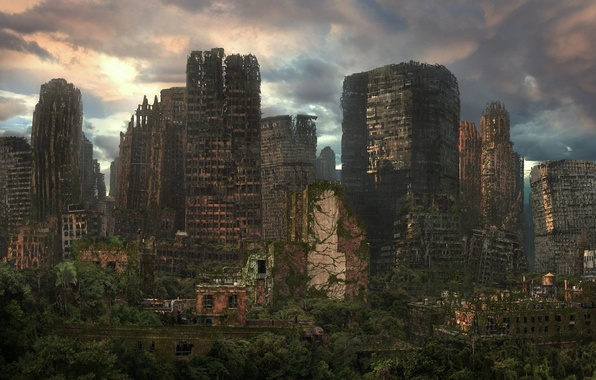 Picture the city, art, the ruins, ruins, postapocalyptic, vines, saloli