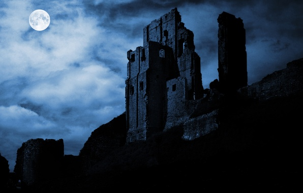 Picture night, the moon, silhouette, the ruins, fortress