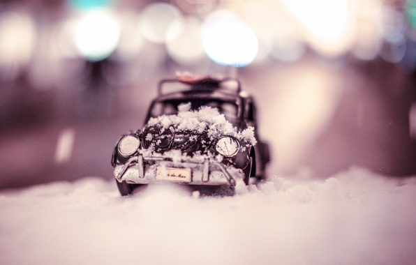 Picture winter, auto, macro, snow, model, toy, Citroen, shooting, machine, the snow, toy, photo, photographer, miniature, …