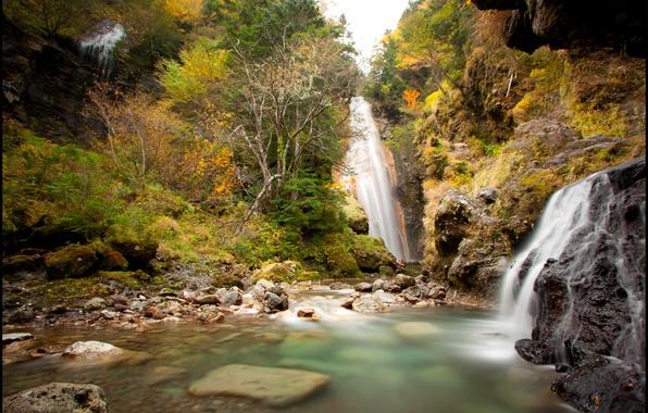 Picture autumn, trees, rocks, waterfall, Japan, Nagano