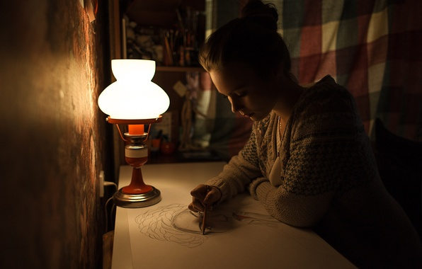 Picture girl, night, paper, table, lamp, pencil, sitting, draws, artist