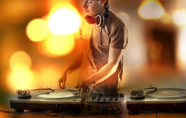 Picture plate, music, club, headphones, guy, DJ
