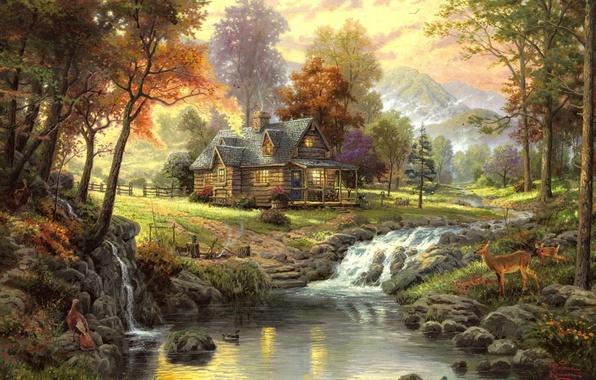 Wallpaper Autumn Stream Landscape Thomas Kinkade The Cabin In