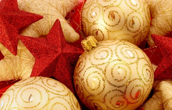 Picture decoration, balls, sequins, New Year, red, stars, gold