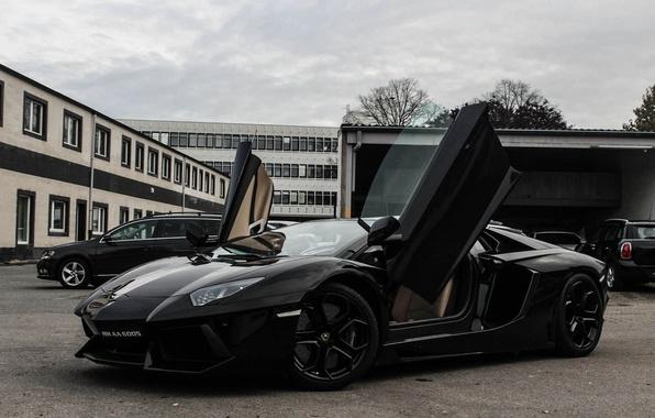 Picture the sky, clouds, black, building, lamborghini, black, side view, aventador, lp700-4, Lamborghini, aventador, guillotine, doors