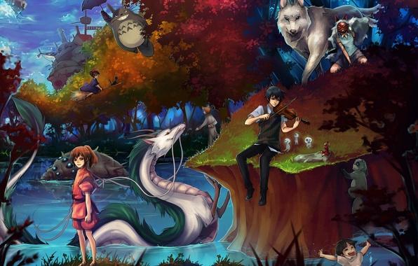 Picture girls, anime, art, guy, Princess Mononoke, my neighbor Totoro, totoro, spirited away, tonari no totoro, ...