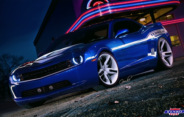 Picture blue, Chevrolet, Camaro, Chevrolet, muscle car, Blik, Blue, muscle car, front, neon lights