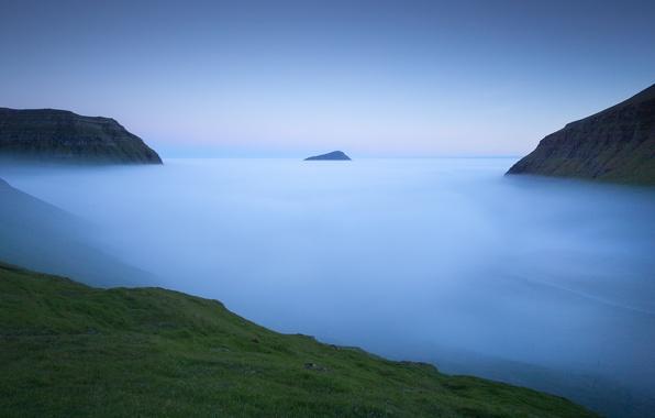 Picture the sky, mountains, nature, fog, the ocean, blue, shore, coast, hill, haze, Faroe Islands, The …