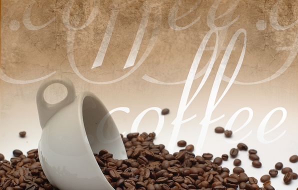 Picture the inscription, coffee, mug, coffee beans, coffee