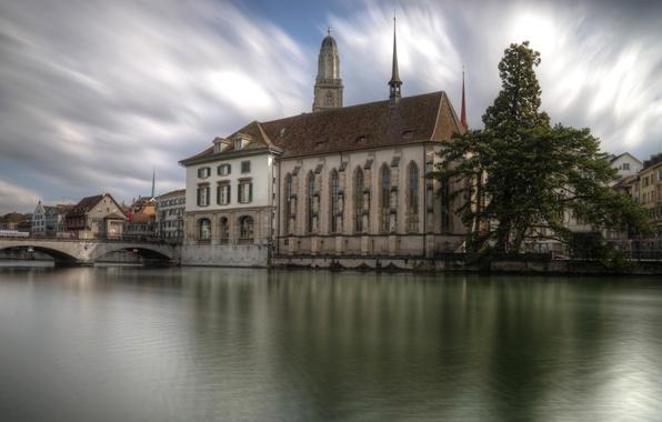 Picture clouds, bridge, river, tree, home, Switzerland, Cathedral, Zurich