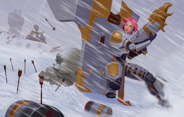 Photo wallpaper winter, war, lol, League of Legends, fan art, Piltover Enforcer