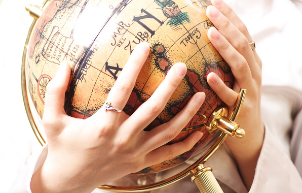 Picture old, hands, globe