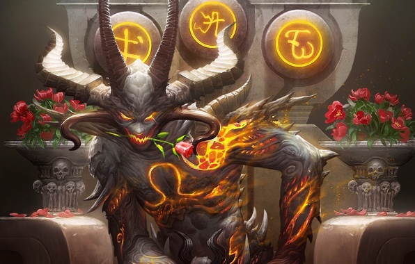 Picture flower, fire, roses, the demon, art, horns, the throne, bouquets, galaxy saga
