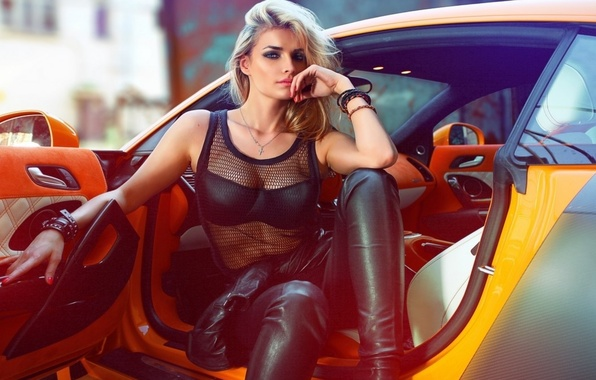 Picture look, girl, decoration, yellow, sexy, model, makeup, Mike, blonde, neckline, singer, beauty, car, celebrity, black, …