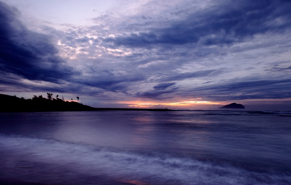 Picture the sky, clouds, sunset, shore, coast, the evening, Bay, Taiwan, calm, twilight, purple, lilac, China