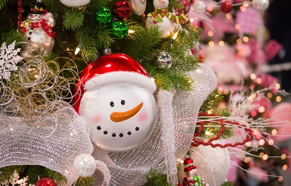 Picture decoration, toys, snowman, tree, tinsel