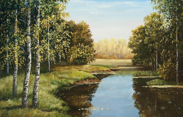 Picture forest, the sky, water, river, shore, picture, artist, painting, birch, Lutsenko, the breath of autumn