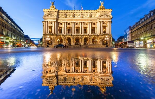 Picture reflection, France, Paris, the building, Paris, Opera Garnier, France, Palais Garnier, Grand Opera, Paris Opera
