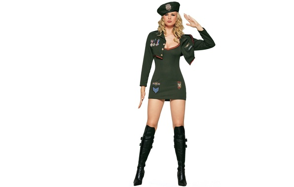 Picture chest, girl, boots, blonde, uniform