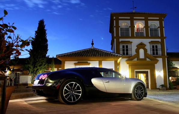 Picture Night, Machine, Bugatti, Light, Veyron, Car, Bugatti Veyron, Car, Wallpapers, Supercar, 16.4, Wallpaper, Back, SuperSport, …