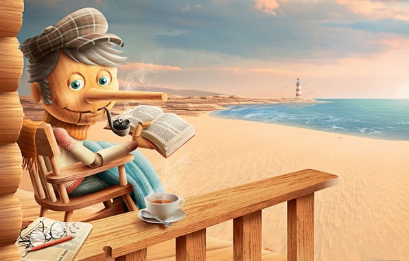 Picture sea, happiness, stay, tea, shore, lighthouse, scarf, Pinocchio