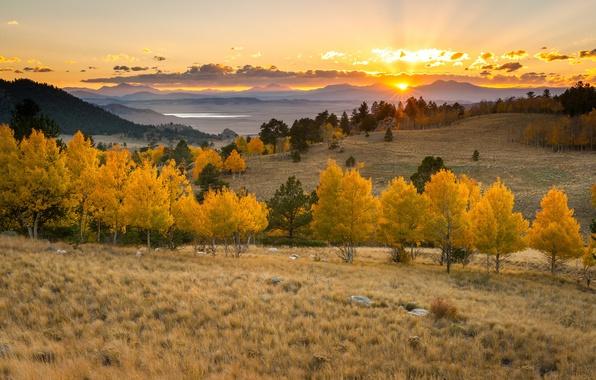 Picture the sun, clouds, trees, sunset, mountains, lake, horizon, orange sky
