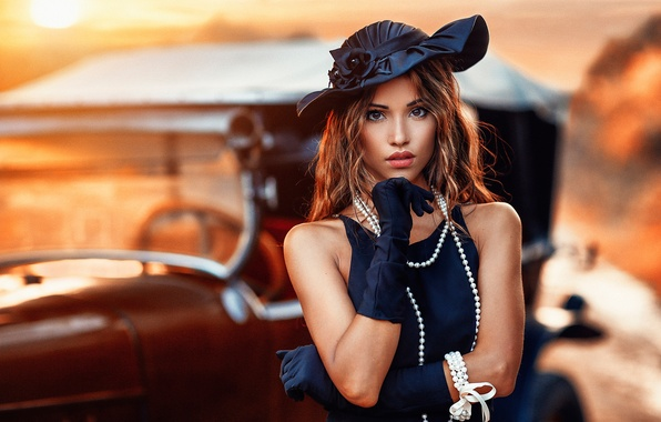 Picture girl, retro, hat, makeup, dress, hairstyle, gloves, beads, brown hair, beauty, car, bokeh, Alessandro Di …