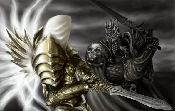 Wallpaper WoW World Of Warcraft Lich King Diablo Archangel Tyrael Arthas Menethil III Reaper Souls Heroes The Storm