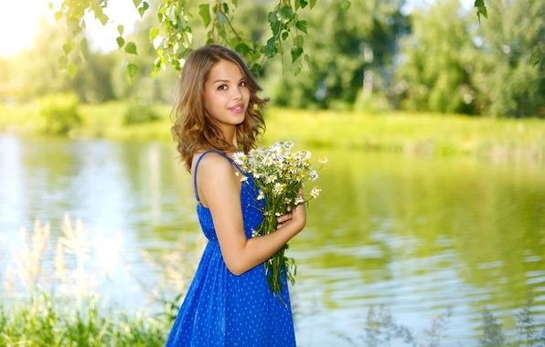 Picture greens, summer, girl, trees, flowers, branches, nature, smile, river, chamomile, bouquet, dress, hairstyle, brown hair, …
