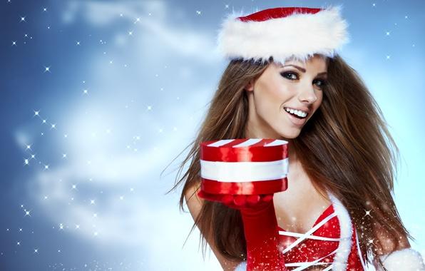 Picture girl, snow, joy, gift, brown hair, glove, cap