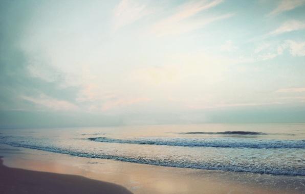 Picture sand, sea, wave, beach, summer, the sky, foam, clouds, landscape, the ocean, shore, coast, horizon, …