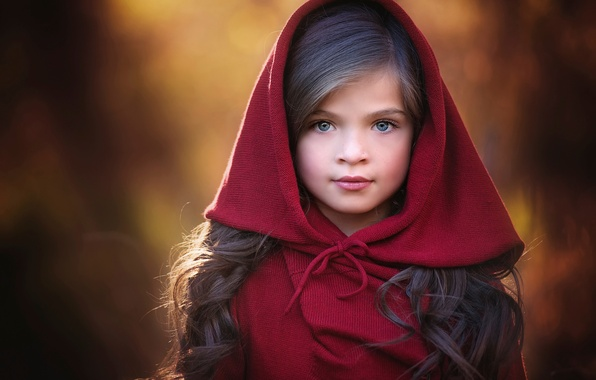 Picture look, portrait, hood, girl, Red, the beauty, bokeh