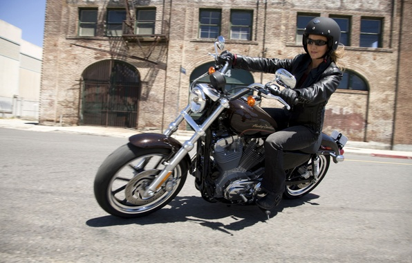 Picture girl, face, style, mood, the wind, blur, turn, motorcycle, biker, saddle, well, as, new, Harley-Davidson, …