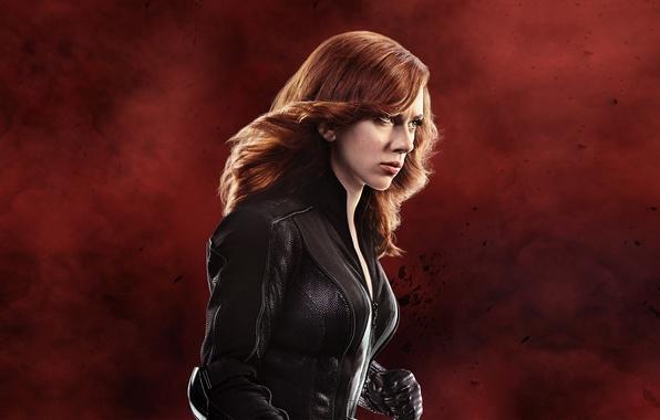 Picture background, fiction, Scarlett Johansson, jacket, hairstyle, gloves, red, Scarlett Johansson, comic, in black, Black Widow, ...