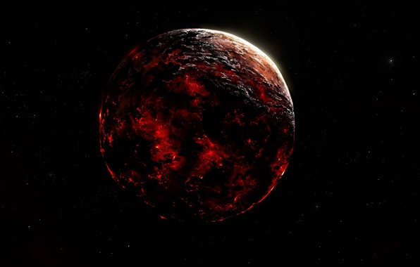 Picture space, space, fire, planet, art, destruction, lava, Alberto Vangelista