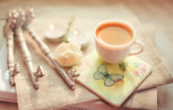 Picture flower, coffee, candles, Cup, book, keys, cappuccino, stand