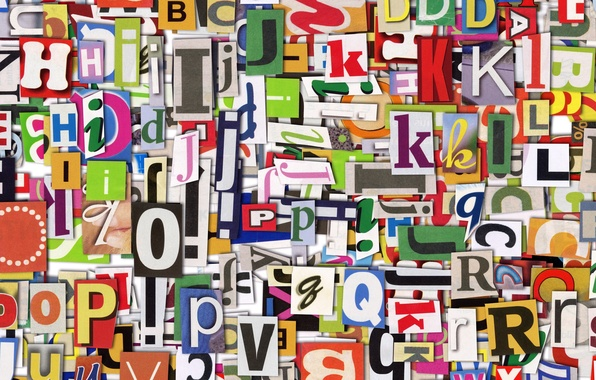 Picture letters, newspaper, colorful, English, clippings, Uppercase