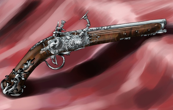 Picture gun, weapons, shadow, art, fabric